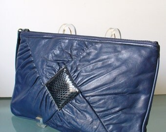 Vintage  Navy Blue Leather with Snakeskin Detail Clutch Bag