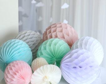 Round paper honeycomb balls - lanterns -  pick  your colors - wedding party decorations - venue decor-baby bridal shower