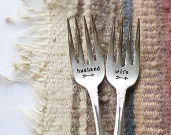Husband and Wife Fork Set - Hand Stamped with wedding date - personalized with the bride and groom wedding date