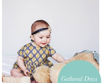 Simple Short Sleeved Gathered Dress Pattern for Baby