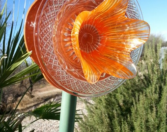 "Yard Art, Sun Catcher, Glass Flower, 6"" Orange glass & clear glass"