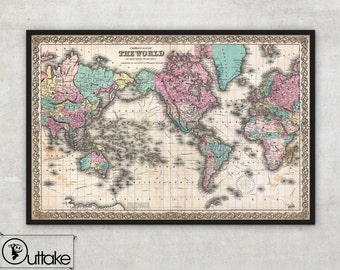 Antique World wall Map - Old World Map 1855 - Antique Atlas - Mercator projection -  LARGE Archival Fine Art print - by Outtakeprints, 001