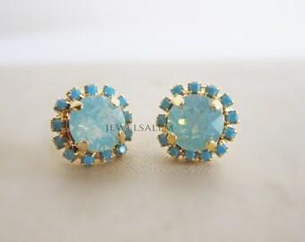 Turquoise Earrings Blue Mint Chrysolite Aqua Swarovski Crystal Studs Gold Post Seafoam Teal Wedding Bridal Jewelry Modern Victorian