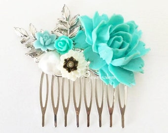 Turquoise Wedding Hair Comb Blue Mint Aqua Teal White Silver Hair Comb Floral Hair Slide Vintage Style Custom Made Flower Bridal Headpiece