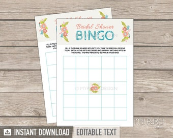 Bridal Shower Bingo - Bridal Shower Party - Engagement Game - Ivory floral theme - INSTANT DOWNLOAD - Printable PDF with Editable Text