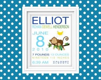 Personalized Boy Monkey Birth Announcement Birth Stat Wall Art Birth Stat Print Nursery Decor Wall Art New Baby Gift Newborn Gift 8x10Print