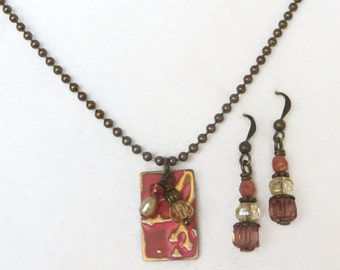 Pink and Brass Patina Recangular pendant with Ball Chain - Necklace and Earrings Set - mom, friend, sister handmade jewelry gift