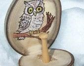 OWL ring holder Aspen Wood slice