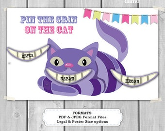 Pin the Grin on the Cat Alice in Wonderland Printable Party Game - Printable PDF - Instant Download - Wonderland Birthday Party Game