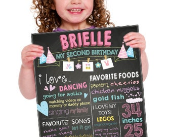 Girly Themed Custom Chalk Birthday Poster/Pink and Purple/All Girl/Cute/Cutsie - DIGITAL/PRINT YOURSELF