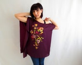 Burgundy asymmetrical top, burgundy tunic,Marsala top, japanese shirt,flower top,tunic top,tunic tshirt,one size fits all, plus size top