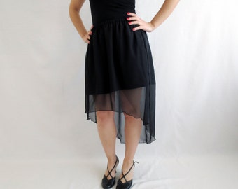 Black high low skirt, fishtail skirt, long maxi skirt, asymmetrical skirt,  womens skirt, black chiffon skirt, long skirt