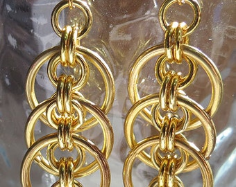 Gold Chainmaille Earrings - Handmade Jewelry