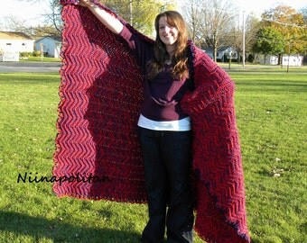 Cherry Berry Ripple Afghan - CLEARANCE - Ready to Ship