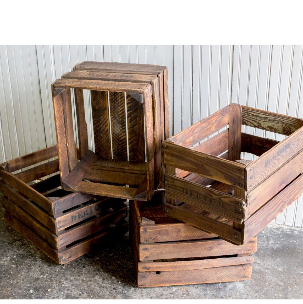Wood crates vintage wooden fruit crates by brooklynreclamation for Wooden fruit crates
