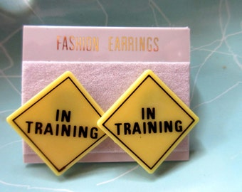 "1980's Earrings Yelllow Traffic Sign ""I'n Training"" New Job Marries Runner Work Out Costume Accessories costume jewelry throwback thursday"