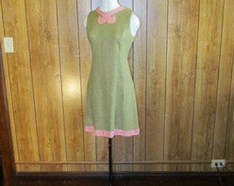On Sale-Beautiful PINK & Brown VINTAGE SHIFT Dress