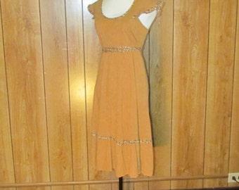 On Sale-Vintage BOHO Day Dress With FLOWER Trim