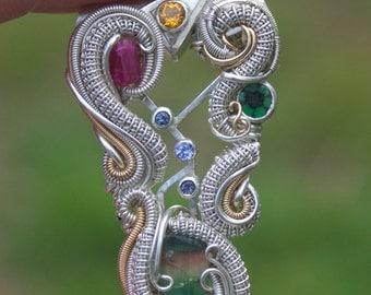 the vastness of space // congo tourmaline, bixbite, raw diamond, trapiche emerald, tanzanite 14kt 18kt gold // high end wire wrapped jewelry
