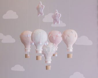 Blush Pink Baby Mobile, Hot Air Balloon Mobile, Custom Mobile, Nursery Decor, Personalized Baby Mobile, i74