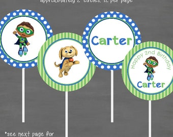 Super Why Birthday Cupcake Toppers--Custom Printable