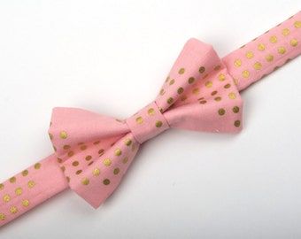Pink Gold dot Bow Tie, pink and gold bow tie, rose quartz bow tie, boys bow tie, men's bow tie, pre-tied bow tie, pink bow tie, ring bearer