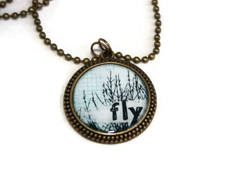 Inspirational Jewelry - Fly Antique Brass Round Resin Pendant, Word Pendant, Inspiration