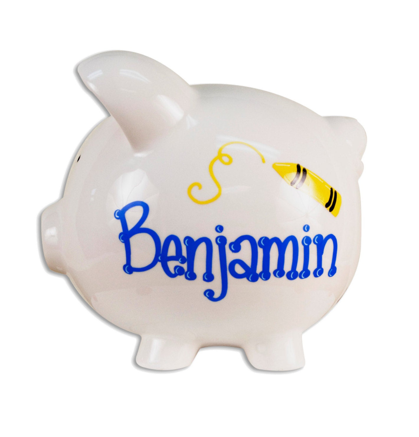 Personalized hand painted piggy bank for kids crayon by for Piggy bank for toddlers