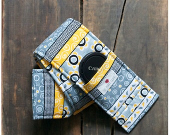 DSLR Camera Strap Cover- lens cap pocket and padding included- Modern Gray & Yellow Striped