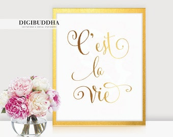 C'est La Vie Real GOLD FOIL PRINT 8x10 5x7 French Thats Life Glam Typographic Art Print  Inspirational Motivational Poster Wall Art A47