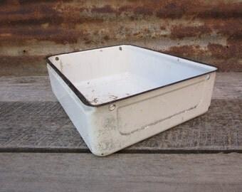 Really Neat Antique Refrigerator Drawer Porcelain Enamel Over Metal White Very Distressed Rustic Metal Bin Drawer Box 1930s Era Vintage vtg
