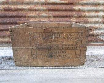 RARE Arnolds Chemical Writing Fluid INK London England Distressed Antique Wood Box Primitive Wooden Box Storage Display 1800s Era Very Old