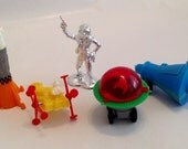 Vintage 1960s 70s Mini Space Astronaut Cupcake Toppers Toys Favors