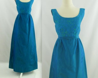 Aegean Evening Dress - Vintage 1960s Taffeta Cocktail Party Dress - Small in Teal Blue Green