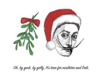 Mistletoe and Dali // set of 5 christmas cards