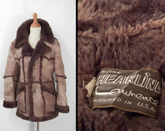 1970s SHEARLING Jacket Lawrence Cocoa Brown Unisex S M