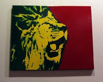 Hand spray painted - Rasta Lion Roar - Spray Paint stencil art on canvas