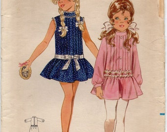 Childrens Low Waisted Dress With Front Tucking And Standing Collar Girls Size 6 Used Vintage Sewing Pattern Butterick 5572