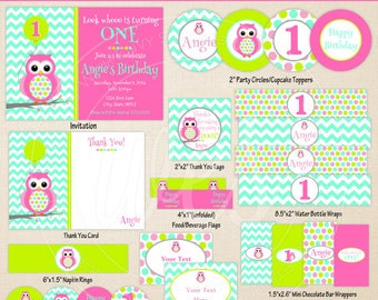 Owl Party Printables - Pink Polka Dot Owl Birthday - Printable Party Set - Owl Party Kit - DIY Pink Owl Party