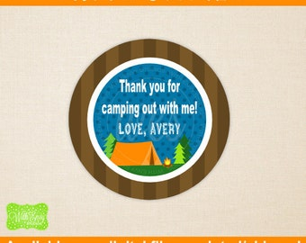 Camping Favor Stickers - Camping Thank You Stickers - Camp Sticker - Party Favor Sticker - Printed and Digital Available