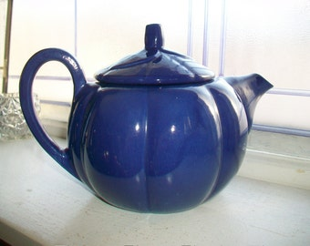 Red Wing Teapot Blue Pumpkin Vintage Red Wing Pottery