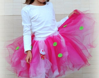 Birthday tutu, pink green polka dot birthday, cupcake party, polka dot tutu, Girls tutu, tulle skirt, Girls Birthday outfit