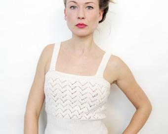Vintage Sheer Knit Shirt Off White See Through Tank Top