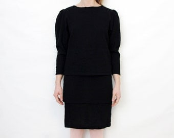 Vintage Black Layered Puff Sleeve Back Button Party Dress