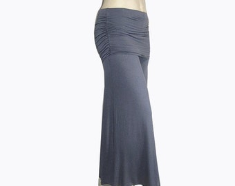 Plus Size Palazzo Wide Leg Pants-Skirted Ruched Hip-Yoga-Hand Dyed Organic Cotton/Bamboo -Color Choice-Made to Order XL,2X,3X,4X,5X,6X,7X,8X