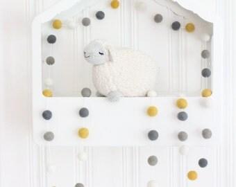 Mustard & Gray Nursery Garland- Pom Pom Garland- Yellow Gray Nursery Decor- Don't Worry Be Happy- Baby Shower decor- Boy Girl Nursery Decor