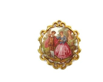 Romantic Brooch Pin Victorian Jewelry Fragonard Porcelain French Flower Garden Brooch Pin Porcelain - Cameo Jewellery Broach Brooches