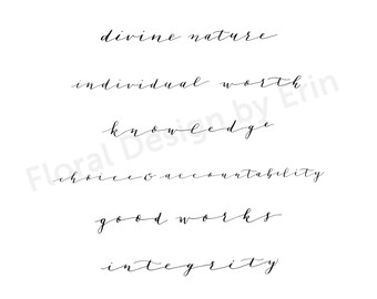 Calligraphy Young Women Values Printable