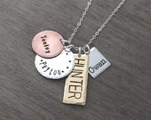 Personalized Mixed Metal Custom Charm Necklace - Mom Jewelry Hand Stamped With Four Names - 4 Name Jewelry