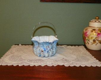 Antique Victorian BASKET Art Glass Spangle Spatterware vasa murrhina Applied Handle